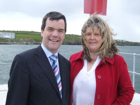 Jacqui McConville the county councillor from Clogherhead pictured at the end of the pier with Noel Dempsey who performed the opening.