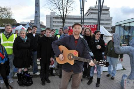 Billy Bragg with Occupy Cork